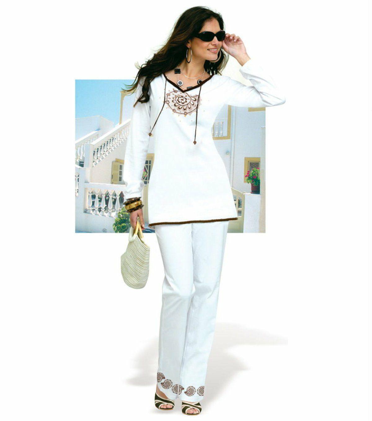 Conjunto mujer túnica y pantalón (blanco)Talla:38 / 40