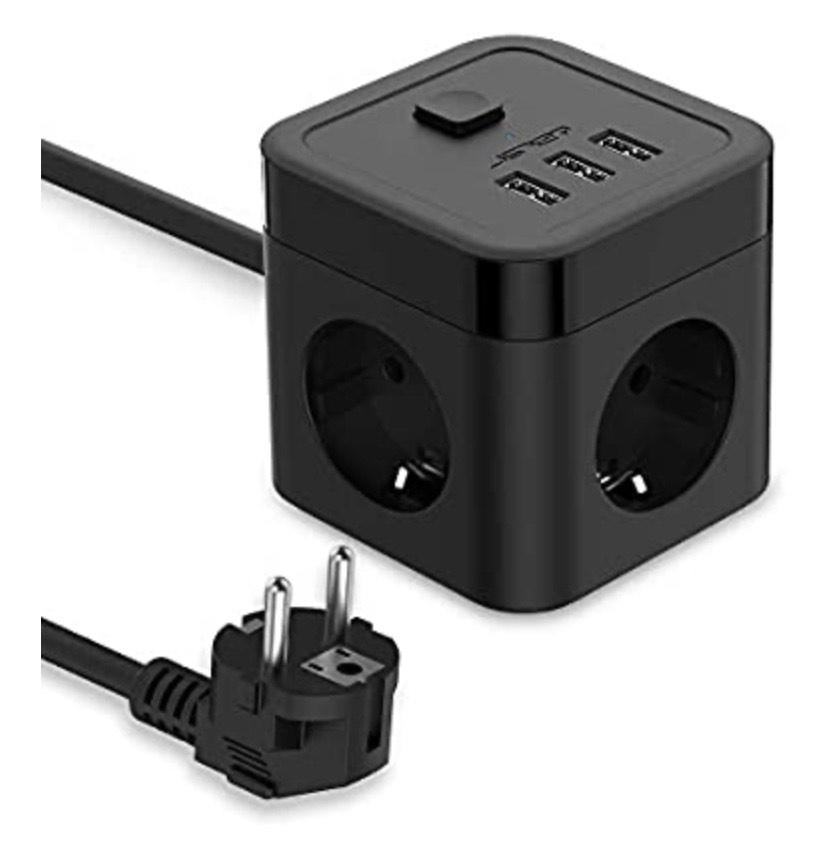 JSVER Cube Regleta Enchufe con USB de 3 Tomas con 3 USB