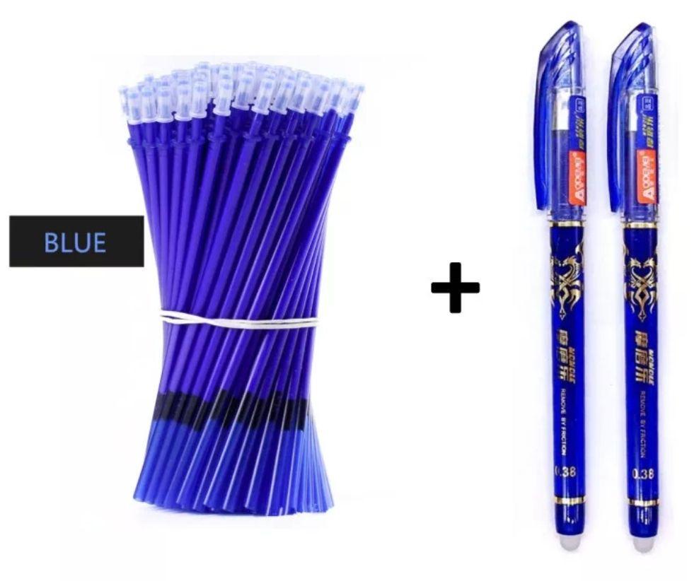 2 bolígrafos de gel + 50 recambios (tinta borrable)