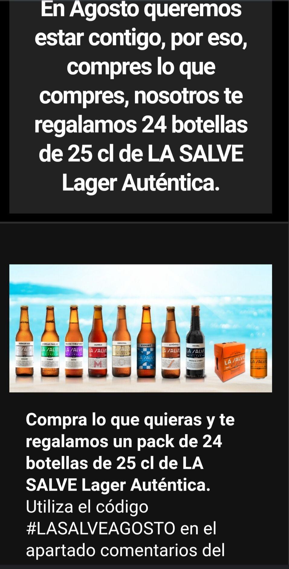 Regalan 24 botellas de 25 cl de cerveza LA SALVE Lager Auténtica, al hacer cualquier pedido.
