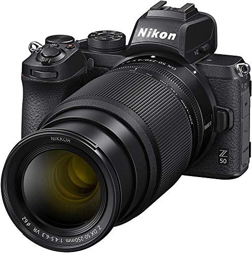 Nikon Z50 - Objetivos 16-50 DX VR, 50-250 DX VR, trípode, Tarjeta SD 64 GB 1000X, Libro y Bolsa, Negro - Versión NIKONISTAS