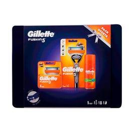 GILLETTE Estuche Fusion 5 Máquina de afeitar + 5 recambios + Gel afeitado + funda