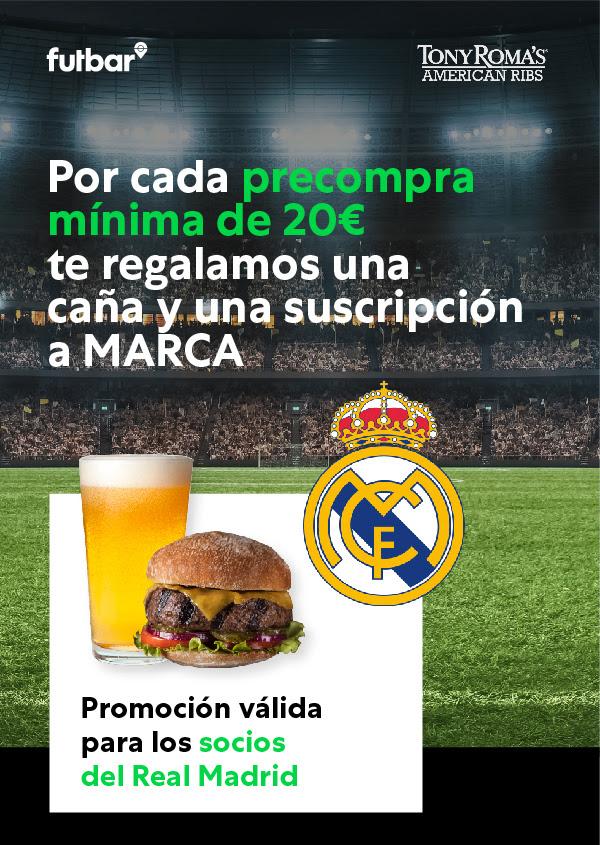 1 caña + 1 semana de Marca (digital) de regalo por cada precompra de 20€ en Tony Roma's [SOLO PARA SOCIOS DE REAL MADRID O ATLETICO]