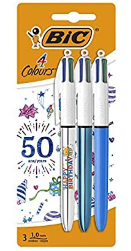 BIC - 3 Bolígrafos retráctil de 4 colores Edición 50 cumpleaños *Mínimo*