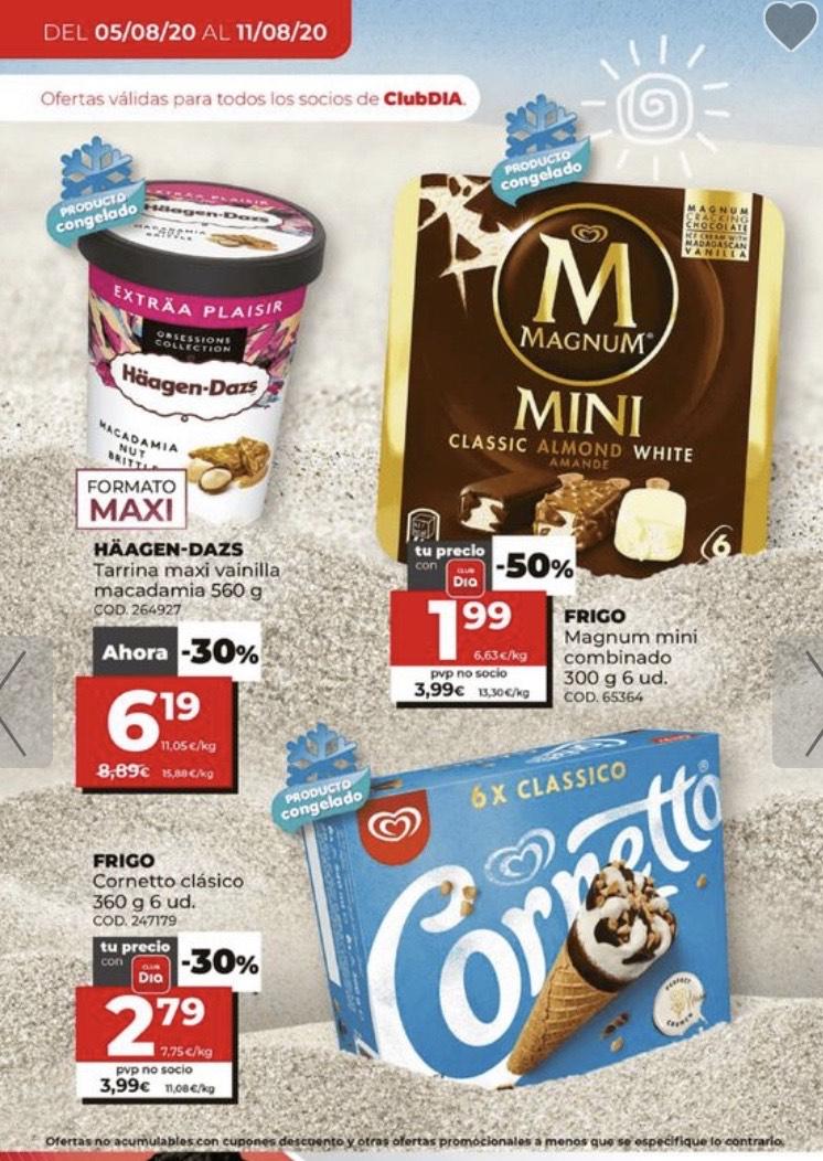 Ofertas en helados en Día