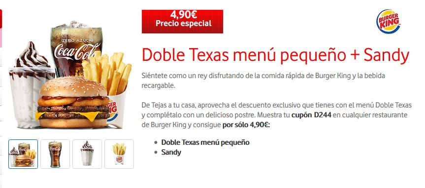 Doble Texas menú pequeño + Sandy