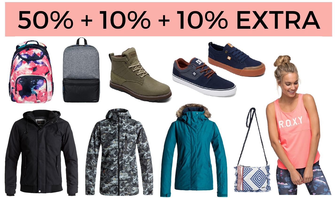 50% + 10% + 10% EXTRA Quiksilver, Roxy y DC