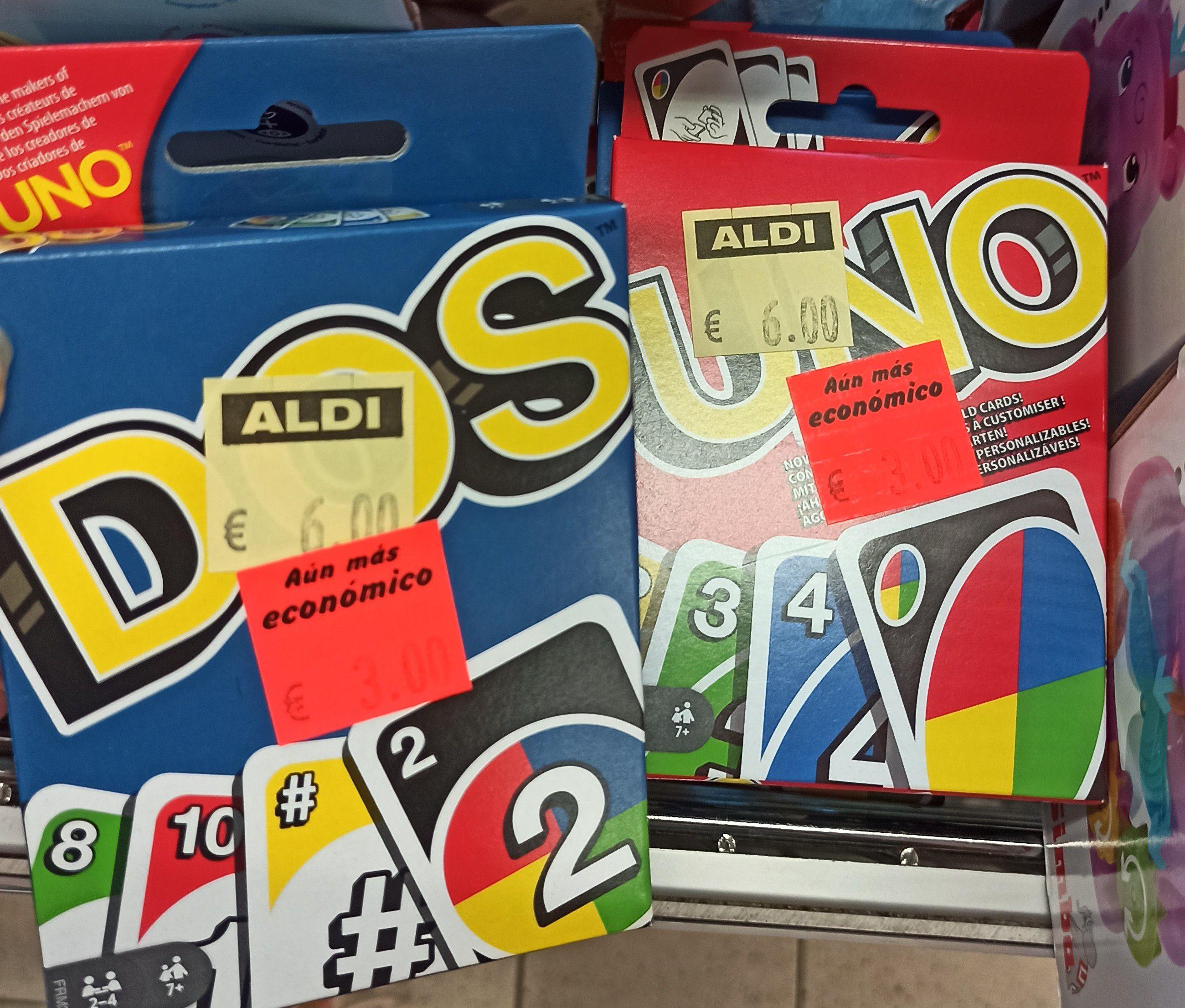 Juego de cartas Uno y Dos en bazar de Aldi de Sevilla (Los Remedios)