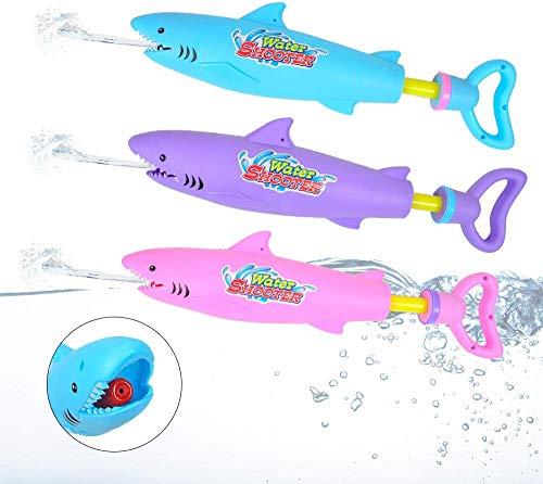 Queta 3pcs Pistolas de Agua para Niños Cañón de Agua en Forma de Tiburón, Pistola de Agua de Alta Presión Extraíble
