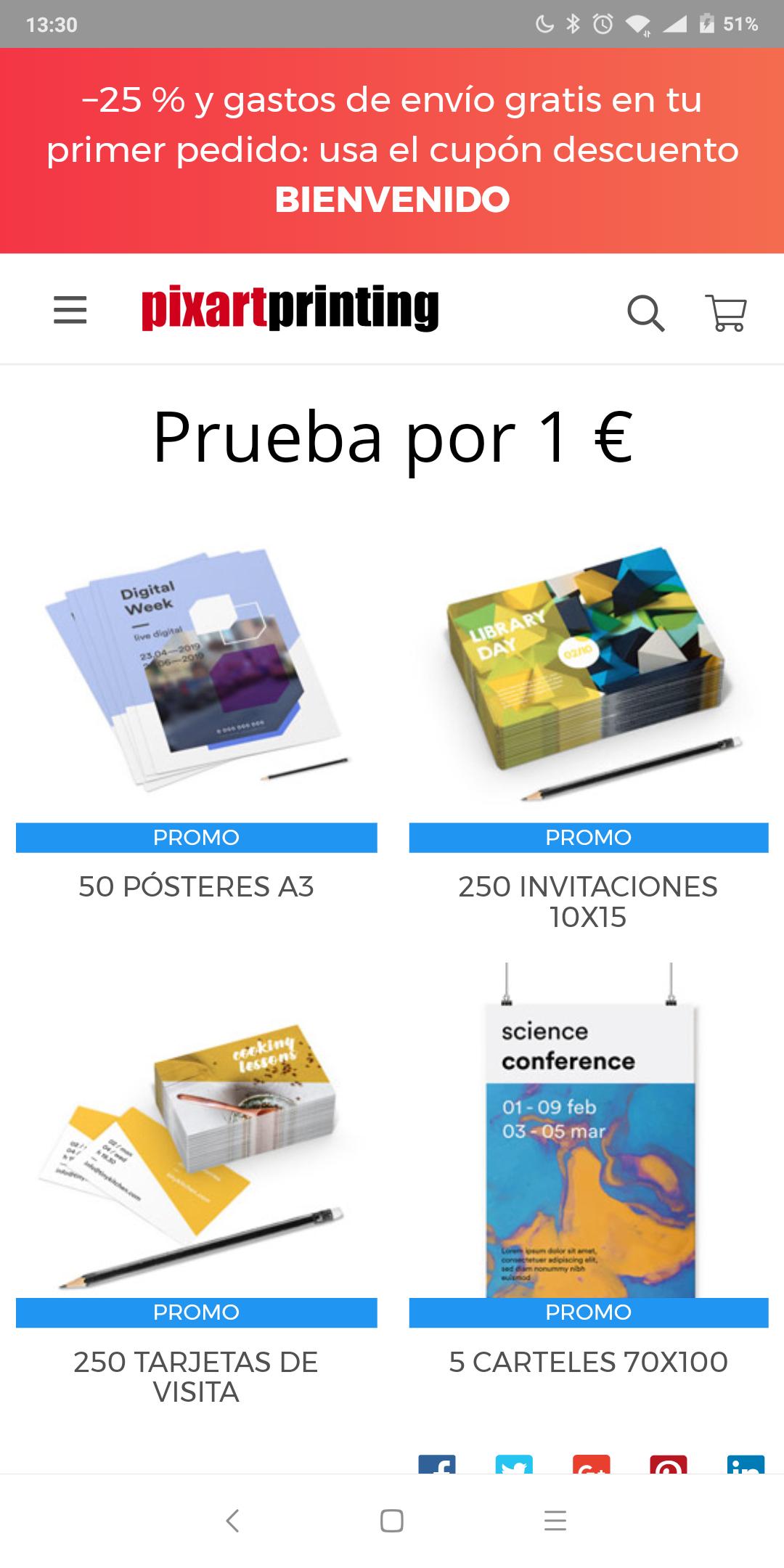 50 posteres, 250 tarjetas o invitaciones o 5 carteles por 1€ (empresas o autonomos)