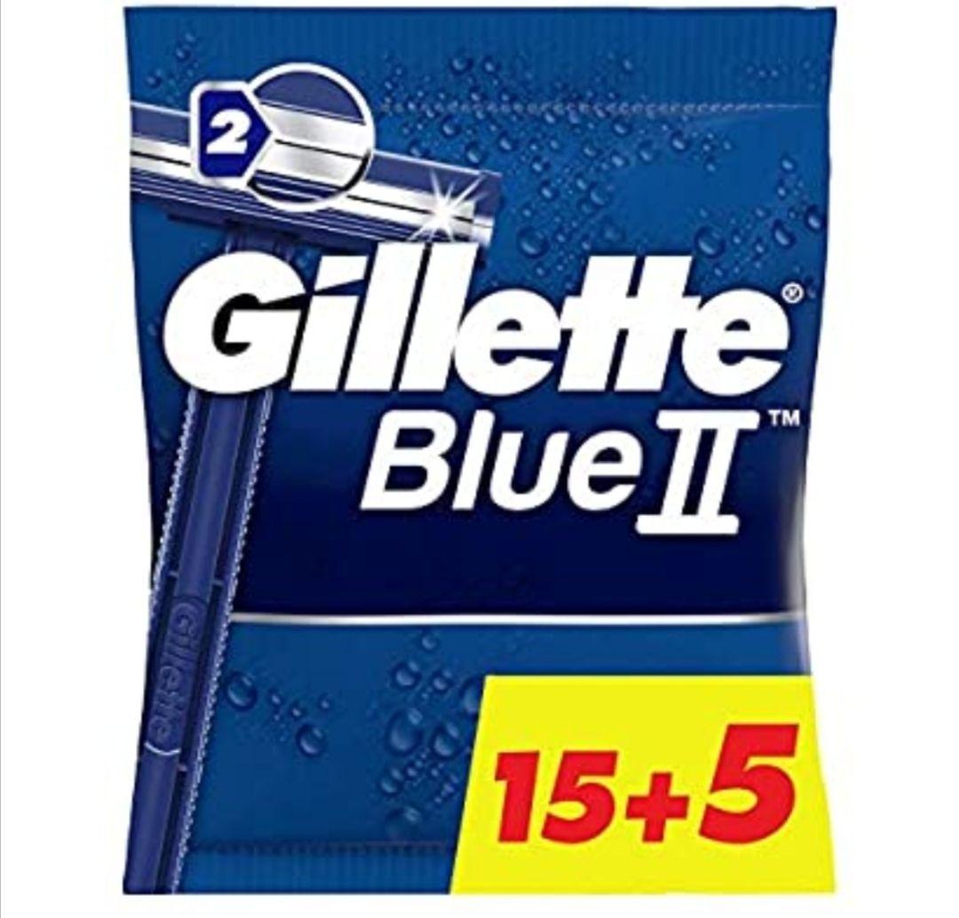 Gillette BlueII Maquinillas desechables para hombre, dos hojas de afeitar, cabezal fijo - Pack de 15+5 (Precio al tramitar)