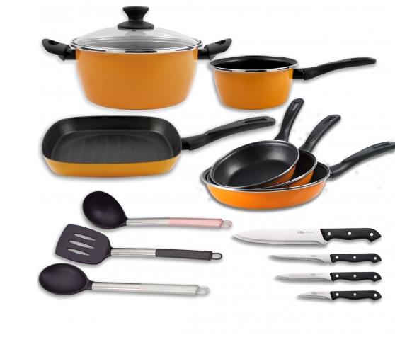 Bateria de cocina san ignacio con cuchillos y utensilios
