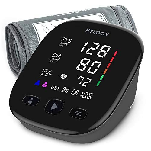 HYLOGY Tensiómetro de Brazo, Monitor de Presión Arterial Digital Automatico con Gran Pantalla LED, Deteccion de Irregular Arritmia