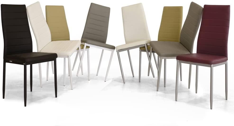 Pack de 4 sillas Piel Artificial - COLOR BLANCO