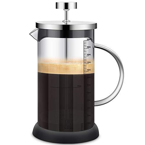 Cafetera Francesa - French Press, 600ML Prensa Francesa con Triple Filtro Embolo Fabricada con Acero Inoxidable