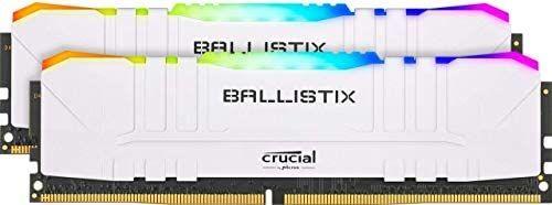 Crucial Ballistix BL2K8G32C16U4WL RGB, 3200 MHz, DDR4, DRAM, Memoria Gamer para Ordenadores de sobremesa, 16GB (8GBx2), CL16, Blanco