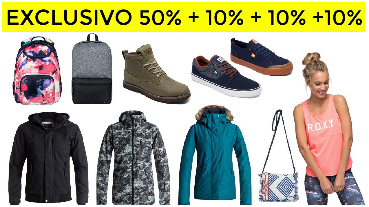 50% +10% +10% +10% EXTRA Quiksilver, Roxy y DC