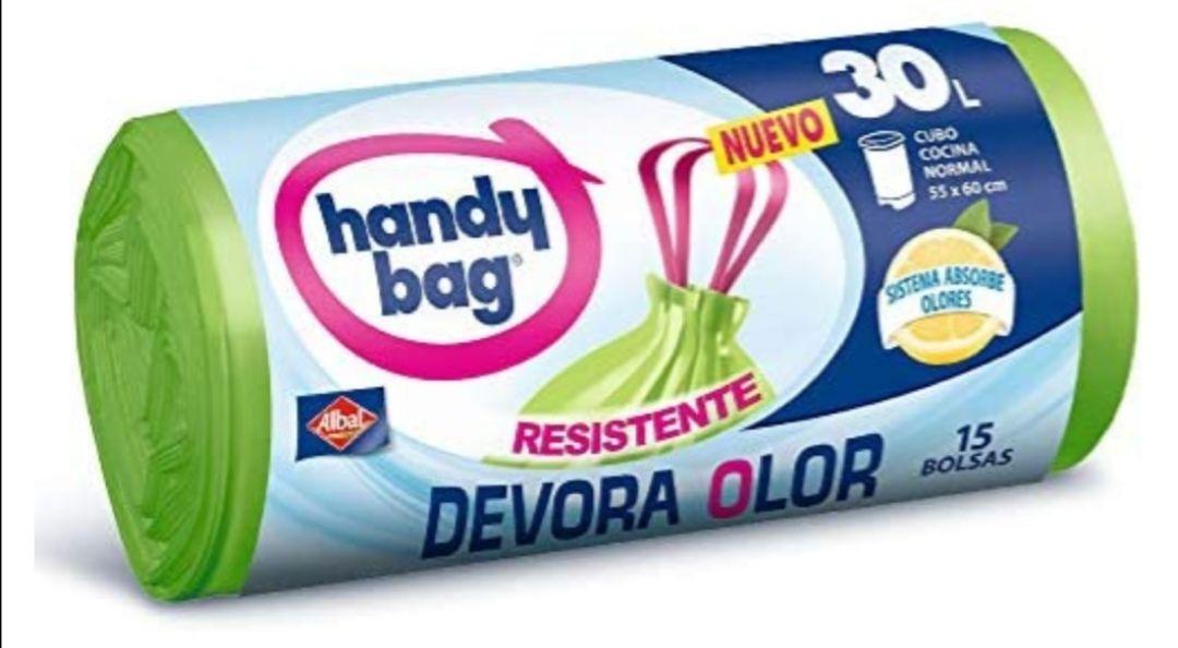 Handy Bag Bolsas de Basura 30L, Extra Resistentes, Elimina Olores,(compra recurrente y al tramitar)
