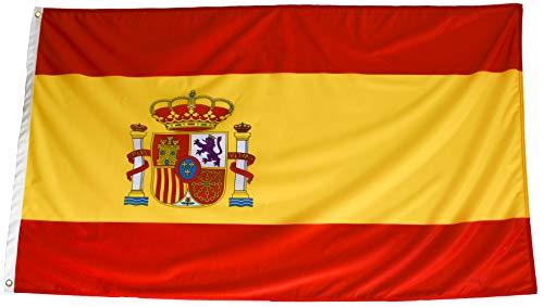2 Banderas de España de Tela Fuerte con protección contra rayos UV y repelente al agua. Bandera Española Grande para Exterior 150x90 cm