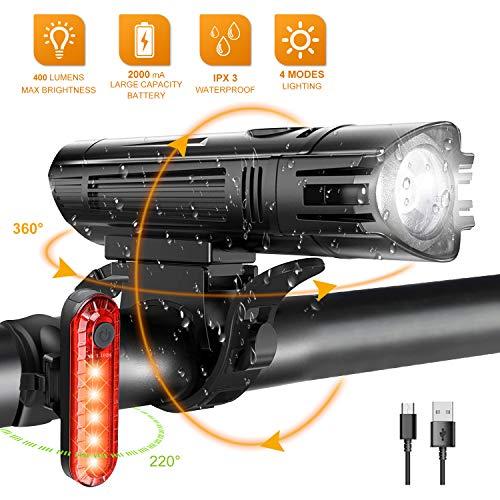 Luces para Bicicleta LED Impermeable, Luces Bicicleta Delantera y Trasera Recargable USB