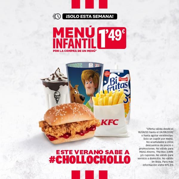Menú infantil KFC por 1.49€ comprando otro menú