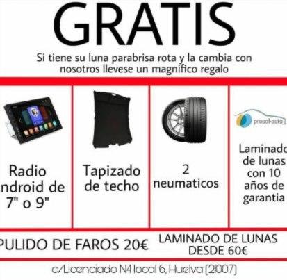 Llévate GRATIS un regalo al cambiar tu luna rota en Cristal Car Huelva