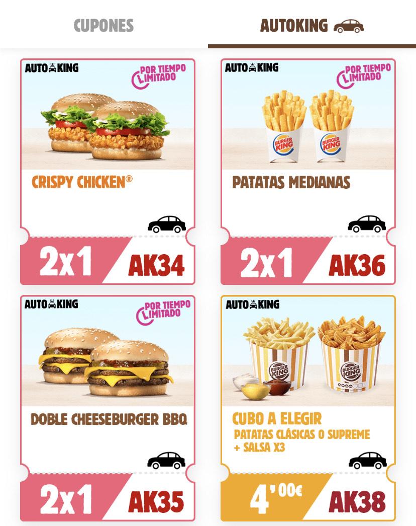 2x1 Burger King en AutoKing desde la App