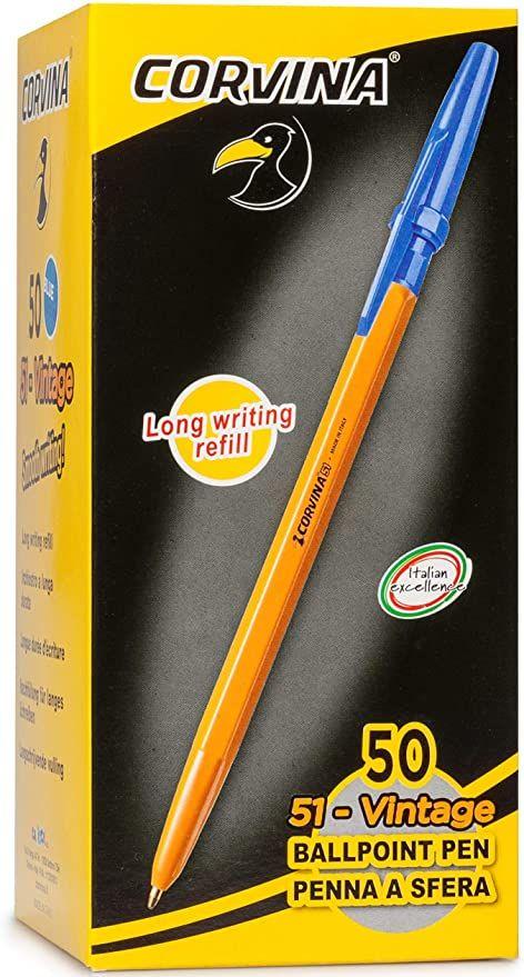 Caja con 50 bolígrafos Corvina, color azul