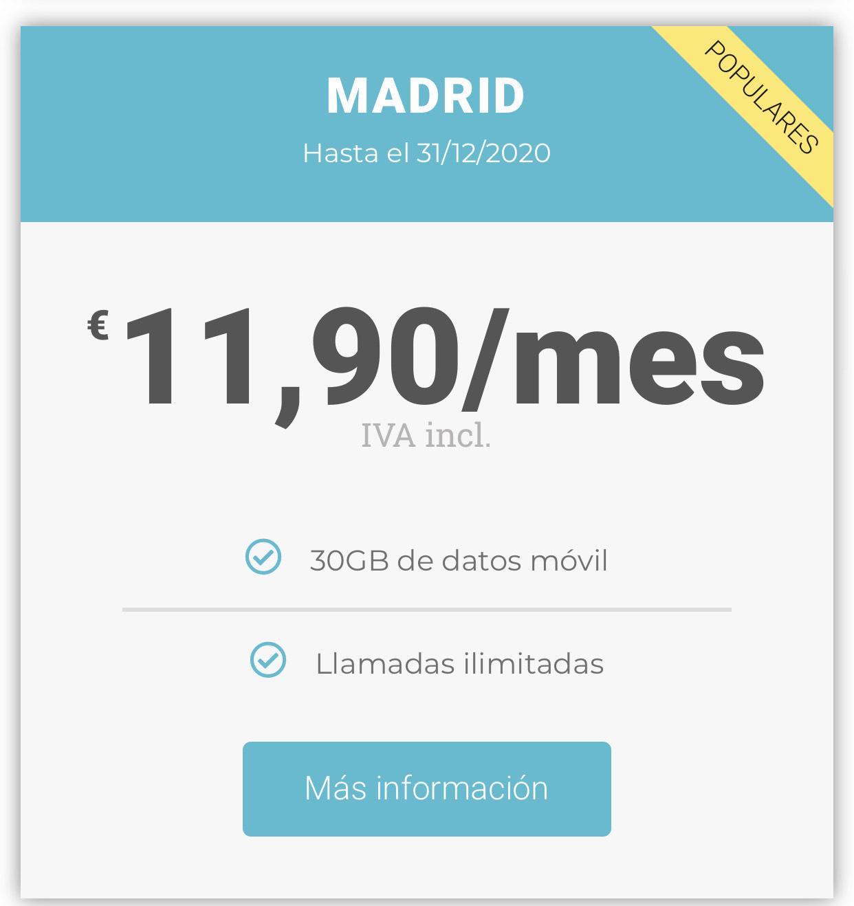 Tarifa móvil 30Gb + Ilimitadas - WIFIB
