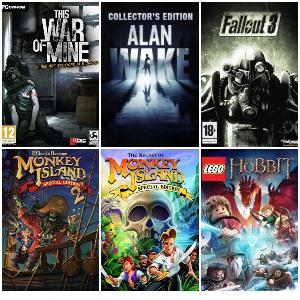 This War of Mine, Monkey Island, Alan Wake - Collector's Edition, Fallout 3 y LEGO: The Hobbit (Por -0.10 céntimos cada uno)