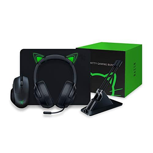 Razer, Kitty Gaming Bundle con Basilisk Essential, Kraken X Lite, Goliathus Mobile Stealth, Mouse Bungee V2 y Kitty Ears, Verde