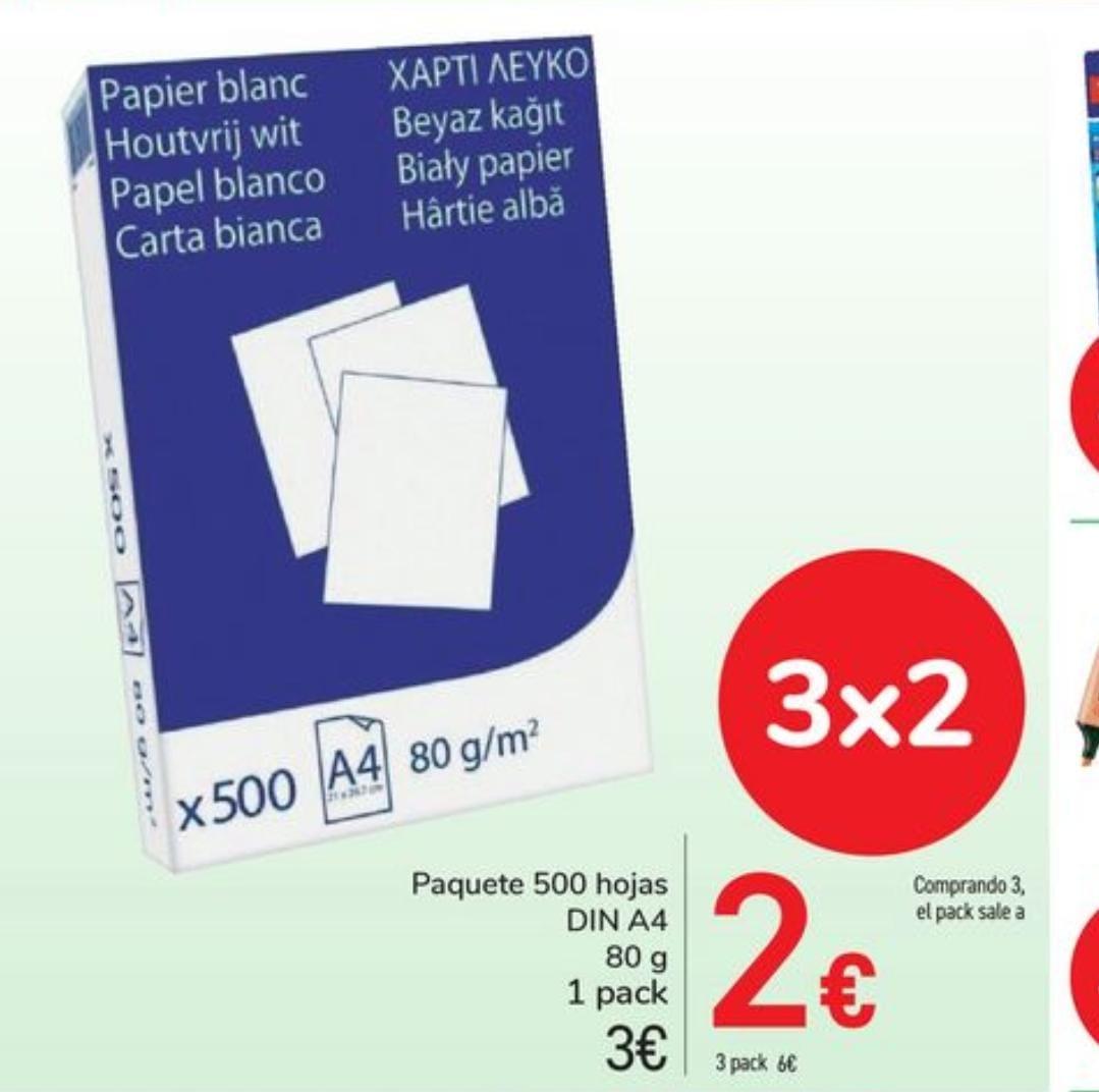 3 paquetes de folios de 80g/m2 a 2€ c/u