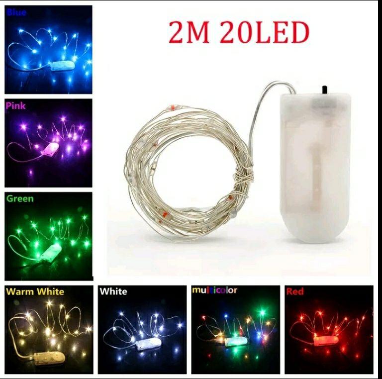 LED cadena luces 10 m 5 m 2 M Alambre de alambre de hadas Luz de Navidad  batería USB led lámpara