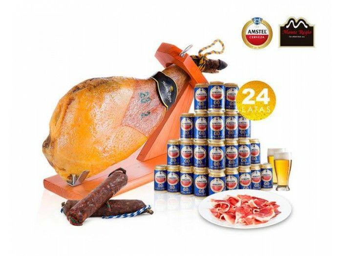 Paleta serrana chorizo y salchicón Ibérico 24 latas de Cerveza Amstel 0,0