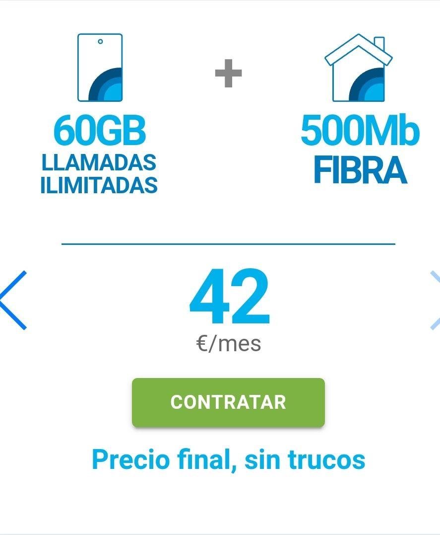 Tarifón DIGI 500mb de fibra + 60Gb y llamadas ilimitadas!!