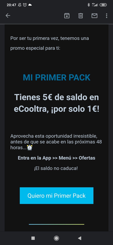 ecooltra - Solo primeras compras pack de 5€ por 1€ (solo appp)