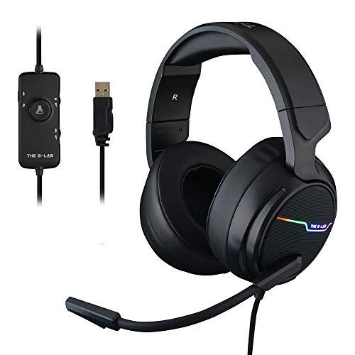 THE G-LAB Korp Thallium Cascos Gaming USB 7.1 Digital Surround - Micrófono con cancelación de Ruido, LED RGB