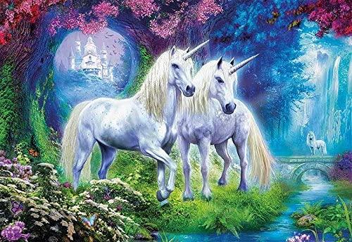 Educa Borras - Genuine Puzzles, Puzzle 500 piezas, Unicornios en el bosque y otro modelo