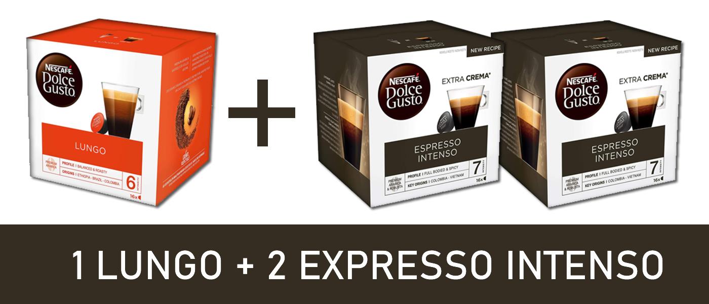 Dolce Gusto: Lungo + 2 Expreso Intenso (0.177€ cápusula) en supermercados MAS (Andalucía)