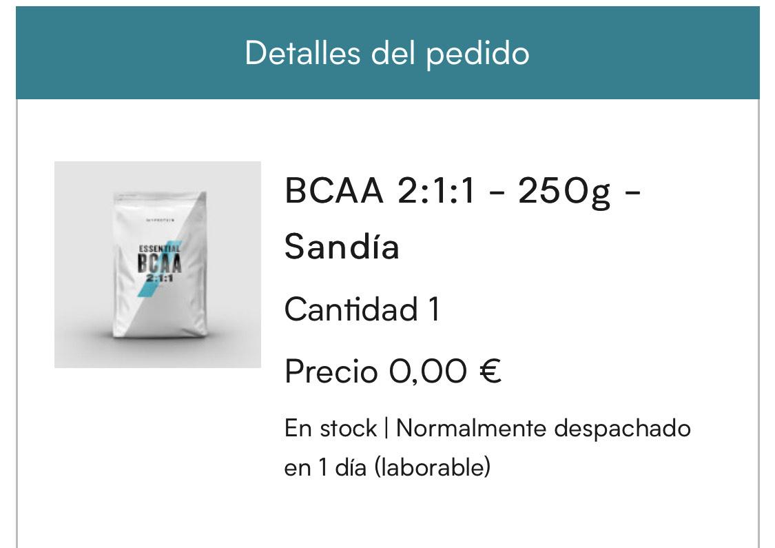 Regalo 250gr BCAA MYPROTEIN al gastar 65€