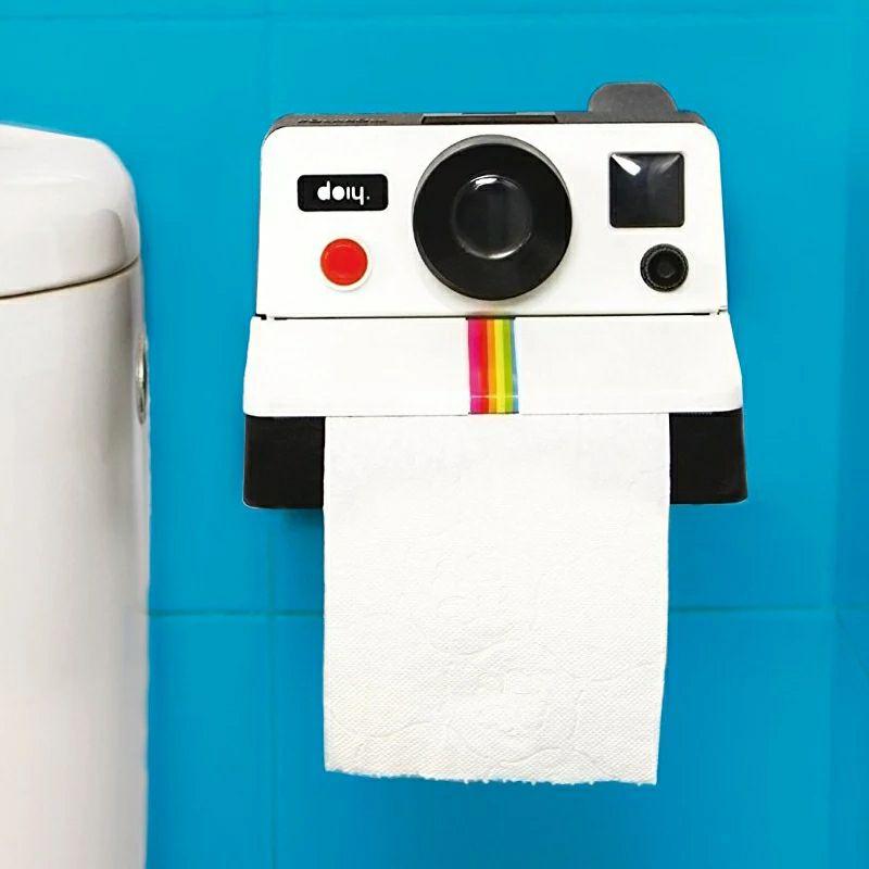 Caja de soporte para papel de WC en forma de cámara