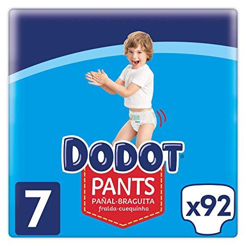 Dodot Pants Pañal - Braguita Talla 7, 92 Pañales, 17 kg +, Pañal - Braguita Con Ajuste 360° Anti - fugas - (Recurrente)