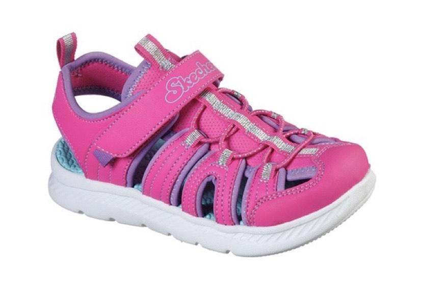 Sandalias de niña Skechers en color rosa con velcro y elástico