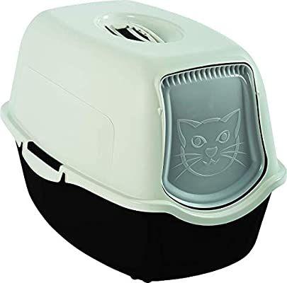 Caja de arena para gatos. Plástico PP sin BPA, blanco y negro, 56.0 x 40.0 x 39.0 cm