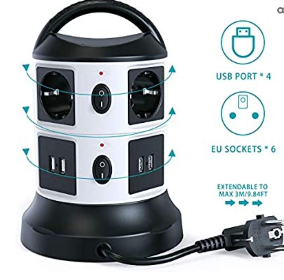 Regleta Vertical Enchufes de 6 Tomas Corrientes, 4 USB Tomas, Cable Extensible de 3 M con Función de Almacenamiento, Proteccion Sobretension