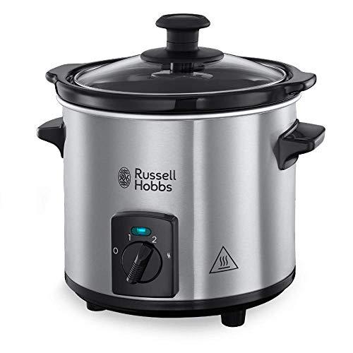 Russell Hobbs Compact Home - Olla de Cocción Lenta Compacta (Olla Baja Temperatura, Acero Inox y Negro, 2l)