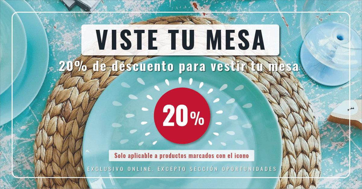 20% de descuento en casi todos los artículos de VAJILLA, CRISTALERIA Y CUBERTERIA