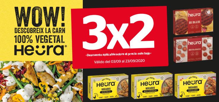 3x2 en productos HEURA (carne 100% vegetal) . La Sirena