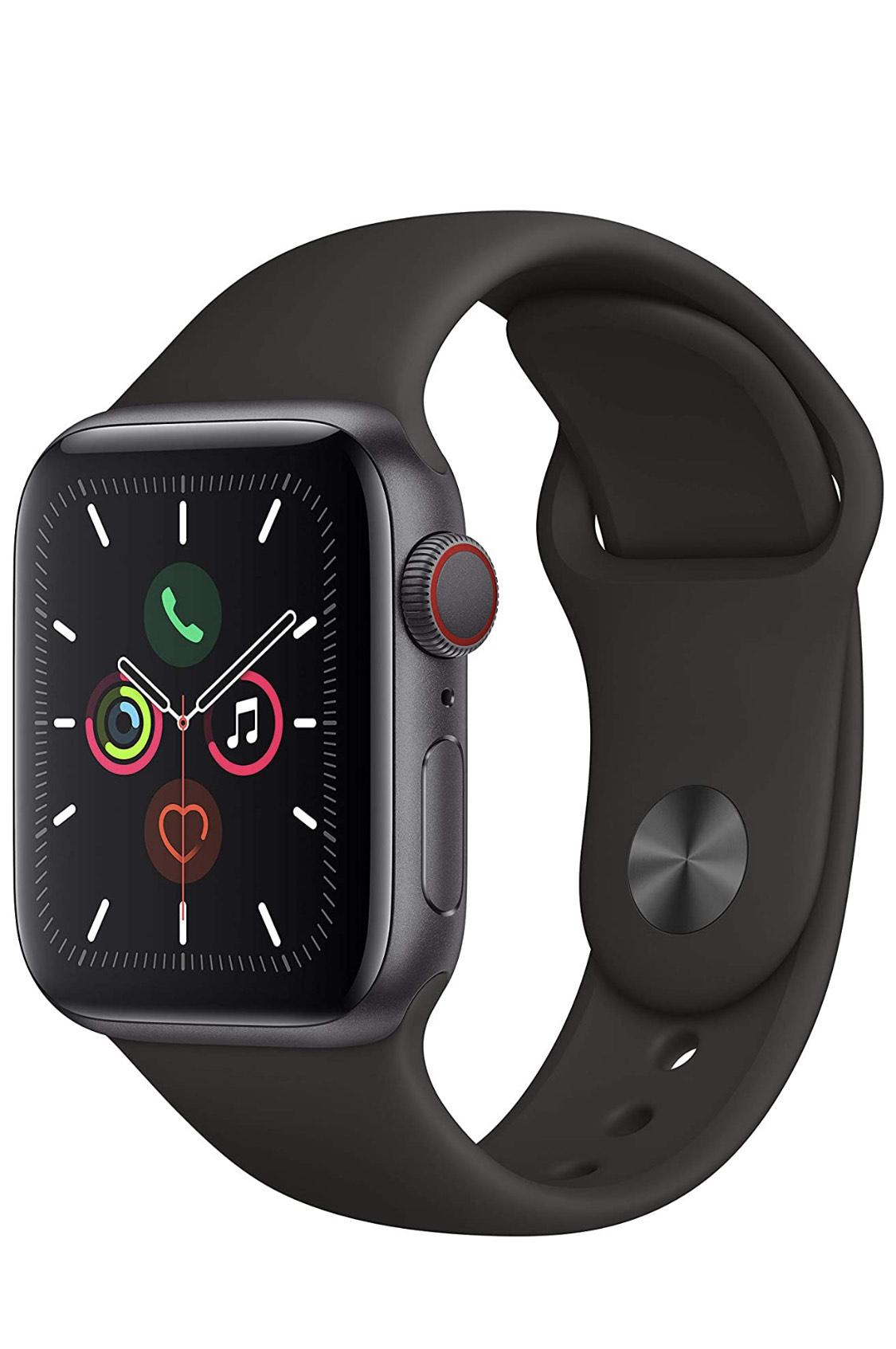 Apple Watch Series 5 (GPS + Cellular, 40 mm) Aluminio en Gris Espacial - Correa Deportiva Negro