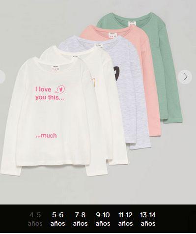 Pack de 5 camisetas de manga larga estampadas